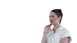 Woman concentrating as she uses a virtual touchscr Stock Video Footage