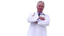 Grey haired doctor crossing his arms while looking Footage