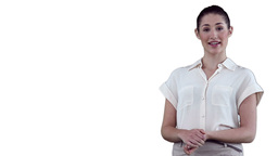 Brunette woman making a presentation using a virtu Stock Video Footage