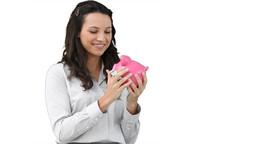 Woman rubbing and holding a piggybank Footage