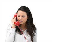 Woman angrily talking on the telephone Footage