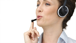 Business woman using a headset Footage