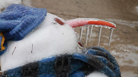 0210 Snow Man , Ice Storm , Icing , Icicle Stock Video Footage