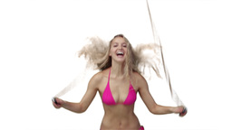 Woman skipping in her bikini Footage