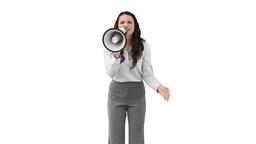 A woman roaring through a megaphone Live Action