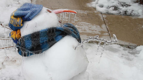 0211 Snow Man , Ice Storm , Icing , Icicle Footage