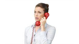 A business woman talking on a telephone Footage