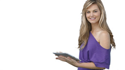 Woman using a tablet computer Stock Video Footage