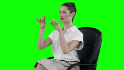 Serious businesswoman typing on a virtual keyboard Stock Video Footage