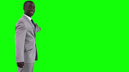 Businessman gesturing towards a virtual object Stock Video Footage