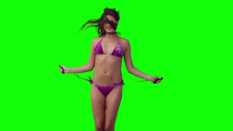 Woman using a skipping rope Footage