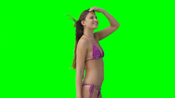 A woman in a bikini posing Footage
