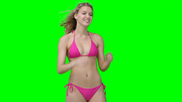 A woman in a bikini posing Stock Video Footage