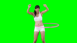 A woman training with a hula hoop Footage