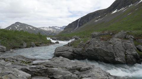 1080p, Flowing River Pan, Norway Footage