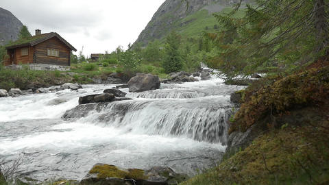 1080p, Flowing River, Norway Stock Video Footage