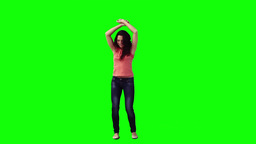 Happy woman is dancing Stock Video Footage