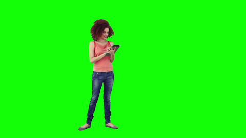 A woman is using a tablet Stock Video Footage