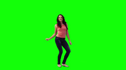 A woman is dancing on the spot Stock Video Footage