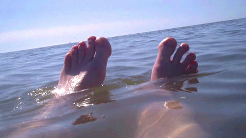 Bathing Feet in the North Sea Stock Video Footage