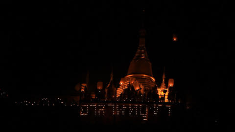 lamp worship in Asalha Puja Day Stock Video Footage
