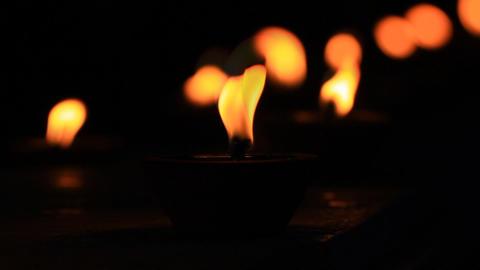 lamp worship in Asalha Puja Day Footage