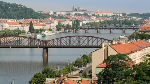 traffic on prague bridges time lapse pan 11446 Stock Video Footage