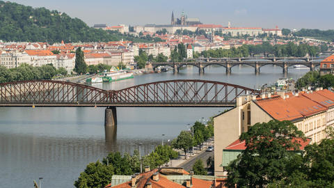 traffic on prague bridges time lapse pan 11446 Footage