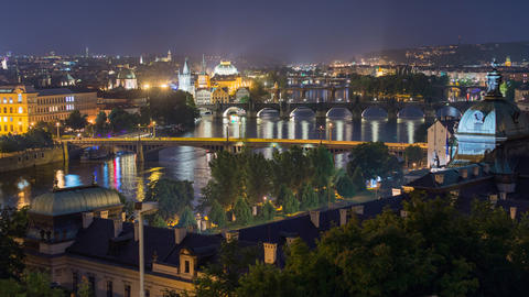 city and bridges of prague wide time lapse 11450 Footage