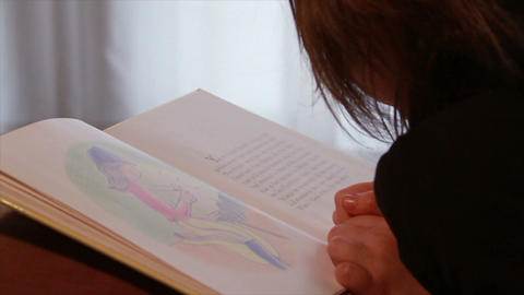 Child Reading Book Footage
