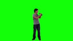 A man looking around through binoculars Footage