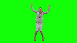 Happy secretary in slow motion raising her arms Stock Video Footage