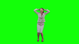 Happy secretary in slow motion raising her arms Footage