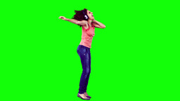 Woman in slow motion listening to music Stock Video Footage