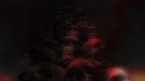 Creepy Animation of human Skulls Stock Video Footage