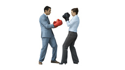 Coworkers in slow motion boxing with gloves Footage
