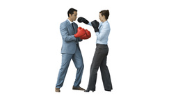 Coworkers in slow motion boxing together Stock Video Footage
