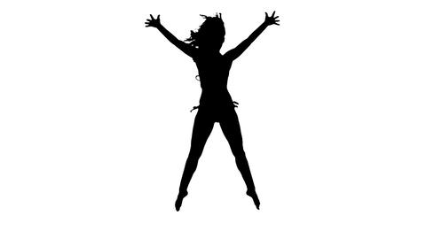 Silhouette woman jumping in the air in slow motion Footage