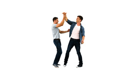 Two men giving each other a highfive in slow motio Footage