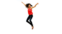 Woman jumping and turning in slow motion Footage
