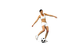 Woman kicking football in slow motion Stock Video Footage