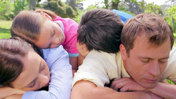 Family lying together on the grass Stock Video Footage