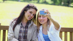 Smiling Friends Taking Themselves In Picture stock footage