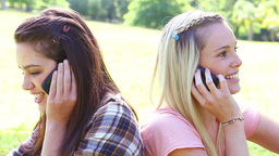 Smiling friends using their cellphones Footage