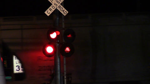 1692 Flashing Stop Lights as Train Pass Live Action