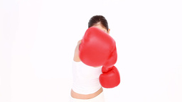 Brunette throwing punches Stock Video Footage