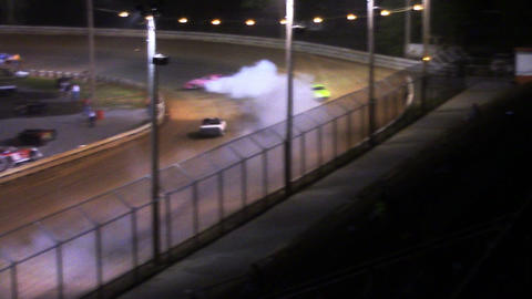 1693 Race Car Smoking Down Dirt Runway stock footage