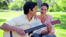 Smiling couple singing together Stock Video Footage