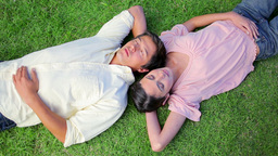 Peaceful couple napping while lying on the grass Stock Video Footage