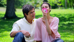 Smiling man giving a pink flower to his girlfriend Live Action